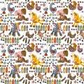 Cartoon farm animals seamless pattern. Royalty Free Stock Photo