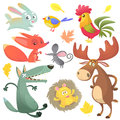Cartoon farm animals set. Vector illustrations of rabbit, rooster, fox, mouse, wolf, hedgehog, moose elk and blue yellow bird Royalty Free Stock Photo