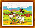 Cartoon farm illustration with optional framing beautiful and colorful for children Royalty Free Stock Photo