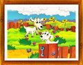 Cartoon farm illustration with optional framing beautiful and colorful for children Stock Photography