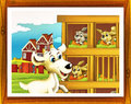 Cartoon farm illustration with optional framing beautiful and colorful for children Stock Photos