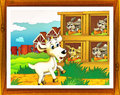Cartoon farm illustration with optional framing beautiful and colorful for children Stock Photo