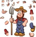 Cartoon farmer with different expressions holding a pitchfork