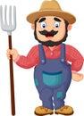 Cartoon farmer holding a rake