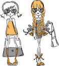 Cartoon fashionable girls,vector Royalty Free Stock Photography