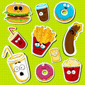 Cartoon fast food cute character face stickers.