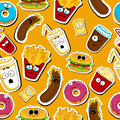 Cartoon fast food cute character seamless faces.