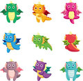 Cartoon fat fire dragon icon set Royalty Free Stock Image