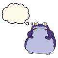 Cartoon fat frog with thought bubble Royalty Free Stock Photo
