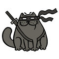 Cartoon fat ninja cat in a mask and a sword. Isolated vector illustration.
