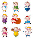Cartoon Fat people icons Stock Photography