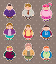 Cartoon Fat people stickers Royalty Free Stock Photos