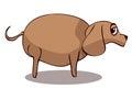 Cartoon Fat Sad Dog, Vector Illustration. Royalty Free Stock Photo