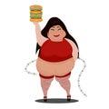 cartoon fat woman holding a big burger