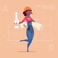 Cartoon Female Builder African American Holding Key From New House And Blueprint Over Abstract Plan Background