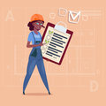 Cartoon Female Builder Carpenter Hold Checklist African American Construction Worker Over Abstract Plan Background