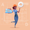 Cartoon Female Builder Holding Small House Ready Real Estate Over Abstract Plan Background African American Worker