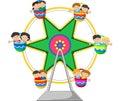 Cartoon Ferris Wheel Over Royalty Free Stock Photo