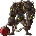 Cartoon figure of a powerful robot