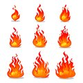 Cartoon fire animation design on white background. Vector fireplace illustration for animation, games etc