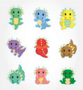 Cartoon fire dragon icon set Stock Photography