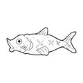Cartoon fish black and white line in retro style vector available Royalty Free Stock Image