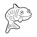 Cartoon fish black and white line in retro style vector available Royalty Free Stock Photos