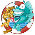 Cartoon fish and chips great illustration of a cute cod eating a tasty traditional british portion of Stock Photos