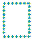 Cartoon fish frame page border background blue and green Stock Images