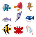 Cartoon fish icons Stock Image