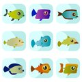 Cartoon fish set Stock Image