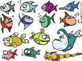 Cartoon fish set Royalty Free Stock Images