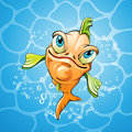Cartoon fish smiling over water background Royalty Free Stock Photos