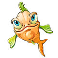 Cartoon fish smiling over white background Royalty Free Stock Photo