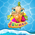 Cartoon fish smiling with summer banner Stock Photography