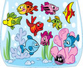 Cartoon fishes in aquarium funny fish swim an at the bottom of the crab seaweed and decoration illustration done on separate Royalty Free Stock Image