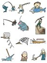 Cartoon fishing icon Royalty Free Stock Image