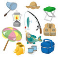 Cartoon Fishing icons Stock Photography