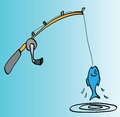 Cartoon fishing rod, hooked fish Royalty Free Stock Photo