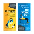 Cartoon Fitness Sport Banner Card Vertical Set. Vector Royalty Free Stock Photo