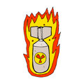 Cartoon flaming bomb hand drawn illustration in retro style vector available Stock Image