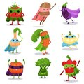 Cartoon flat characters set of superhero vegetables in capes and masks in different poses Royalty Free Stock Photo