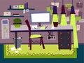 Cartoon Flat interior work room vector illustration