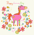 Cartoon floral card happy horse Royalty Free Stock Photography