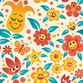 Cartoon floral pattern seamless no transparency and gradients used Royalty Free Stock Image