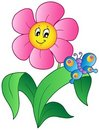 Cartoon flower with butterfly Royalty Free Stock Photo