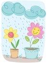 Cartoon flower happy . Royalty Free Stock Photo