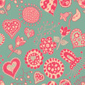 Cartoon flower hearts seamless pattern Stock Photography