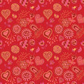 Cartoon flower and hearts seamless pattern Royalty Free Stock Images
