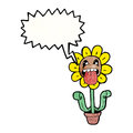 Cartoon flower with speech bubble Stock Photo